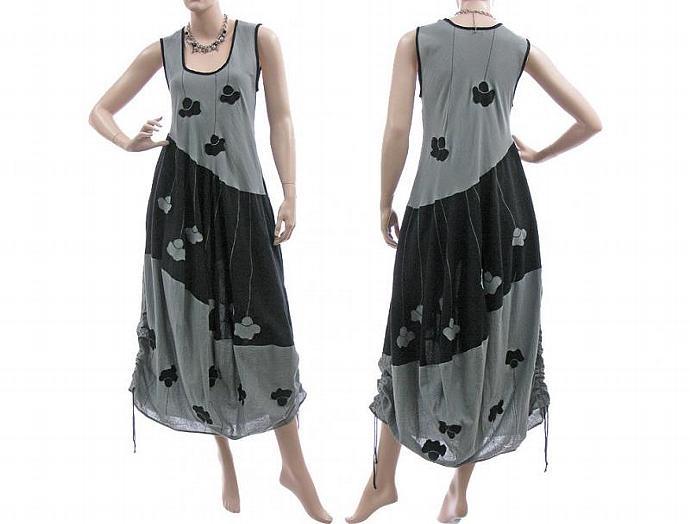 Handmade boho maxi dress crinkle cotton in grey black, balloon shape / lagenlook