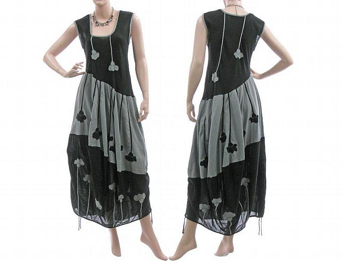 Handmade boho maxi dress crinkle cotton in black grey, balloon shape / lagenlook