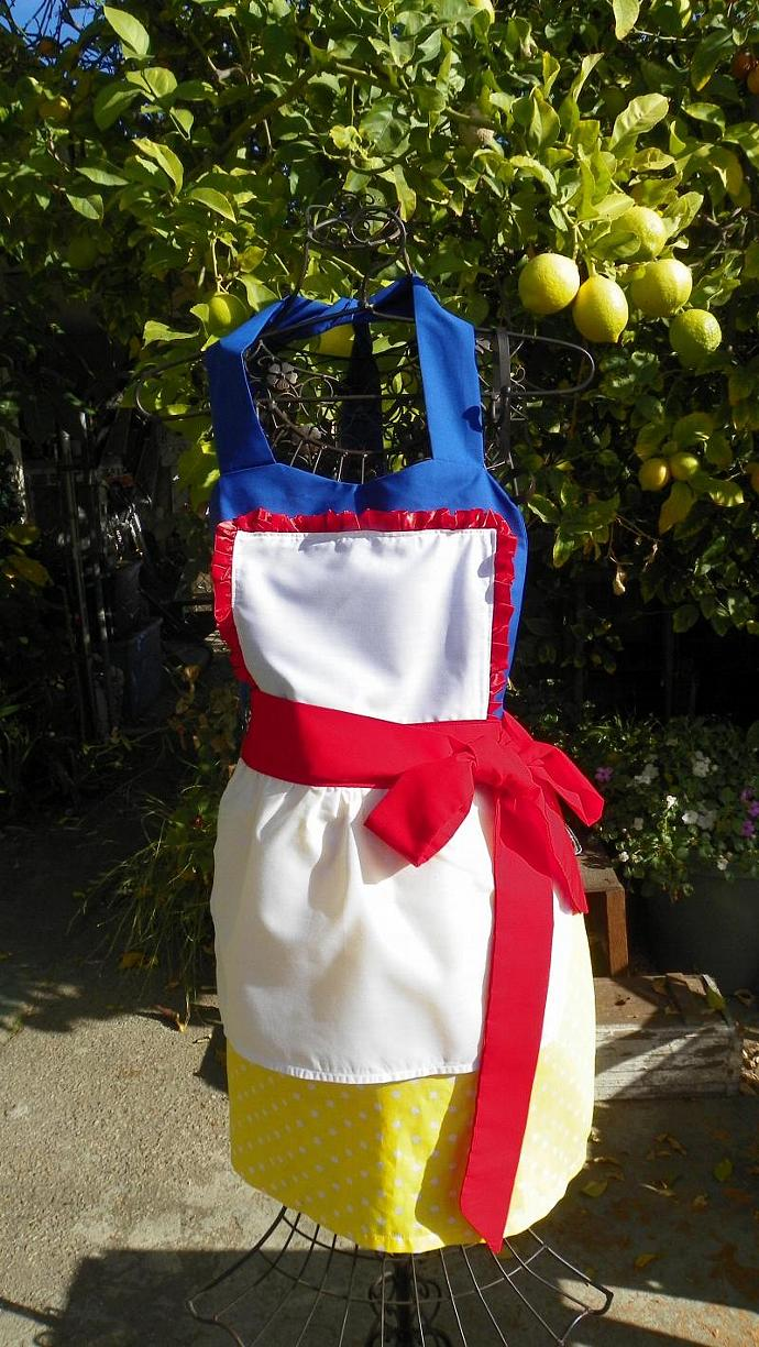SNOW WHITE apron retro womens full Cosplay costume aprons Womens Apron Size L-