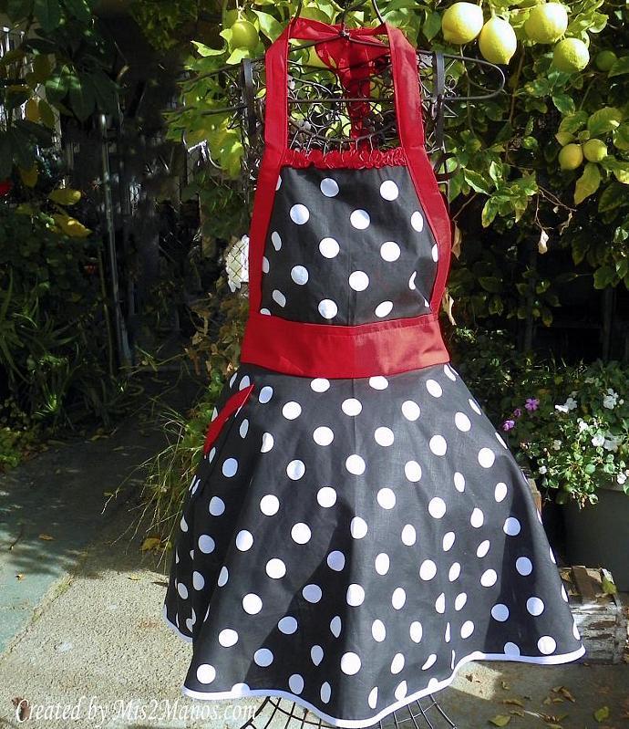 Retro Apron Be My Valentine Sexy Womens Apron Black and White Polka Dots Size L-