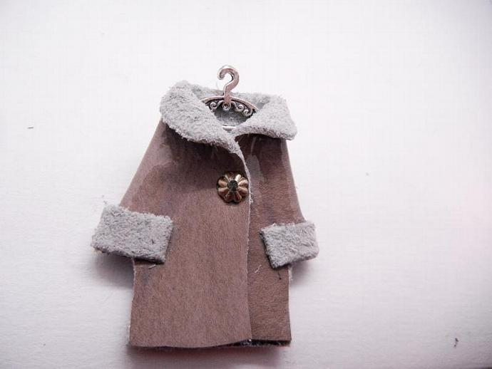 Patent Leather Mini Coat Brooch, Pin, Handmade by Bumbleberry Jewelry