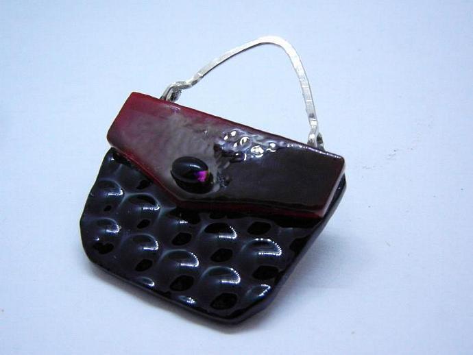 Fused Glass  Purse, Handbag, Black Red Brooch / Pin.. Handmade by Bumbleberry