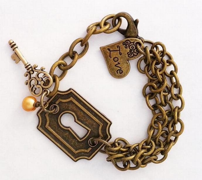 Vintaj Brass Keyhole Bracelet