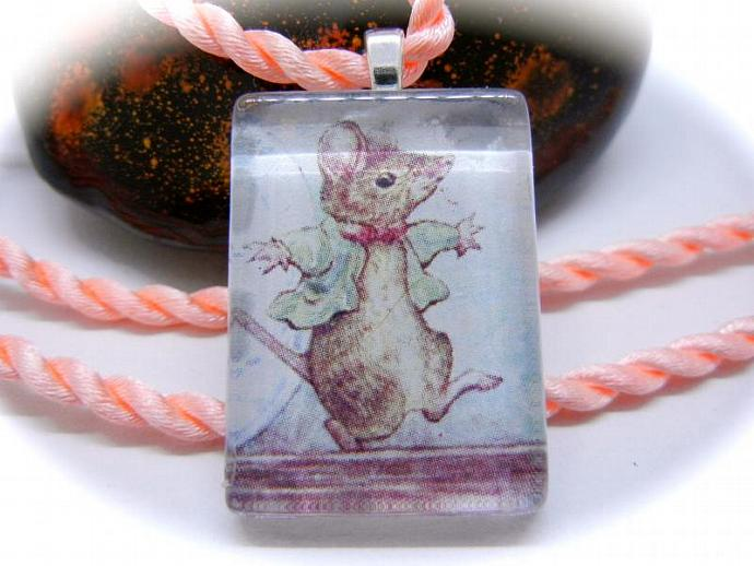 Johnny Town-mouse Pendant Necklace, Beatrix Potter's Johnny Townmouse, Handmade
