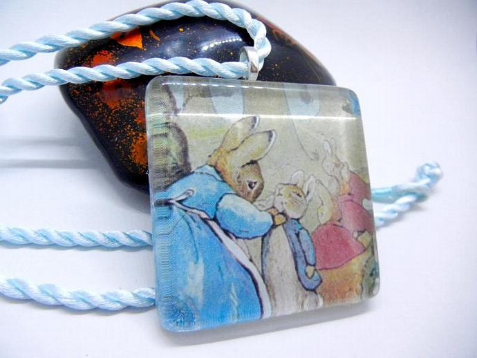 Beatrix Potter Large Glass Pendant Necklace of Characters Peter Rabbit and