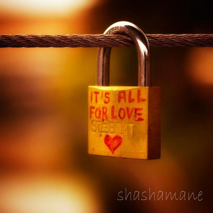 "It's all for love - Romantic, heart padlock 5 x 5"" fine art photography print"