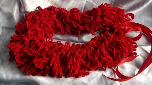 Red Cowl in LOOPY LOOPS with Ribbon Closures