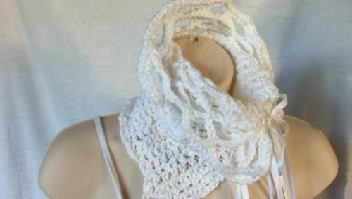 Ruffled Snow White Asymmetrical  Cowl With  Ribbon Closures