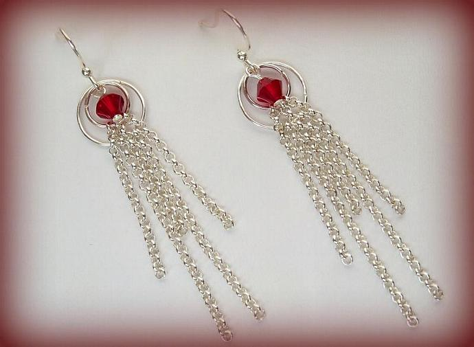 Swarovski Red Crystal Earrings Circle of Love