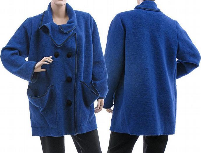 Handmade artsy jacket, coat, boiled wool in cobalt blue / lagenlook for plus