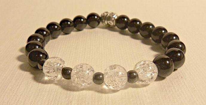 Unisex  Bracelet:  Rock Quartz Crystal, Black Jasper And Hematite, Silver Plated