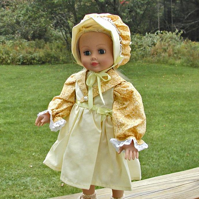"""Old Fashioned 18"""" Doll Dress and Bonnet"""