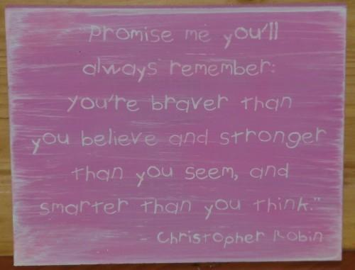 PINK Primitive Winnie the Pooh Sign Promise Me Christopher Robin Nursery Baby
