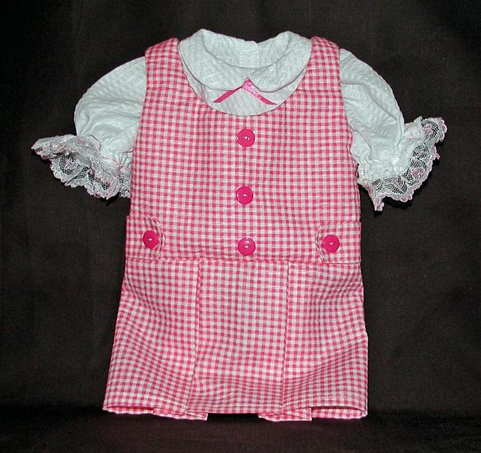 """18"""" Doll's Pink Checked Jumper Set with Blouse and Slip"""