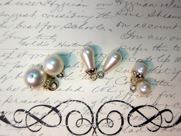 6pcs Pearl Dangle Beads - White