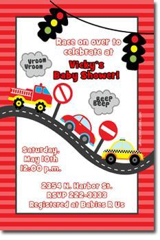 Car Transportation Baby Shower Invitations (download jpg immediately)