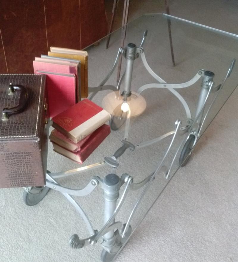 Vintage Casket Coffin Trolley Dolley IndustrialRebuilt - Casket coffee table