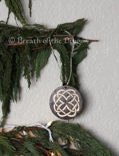 Dark Celtic knotwork round ornament