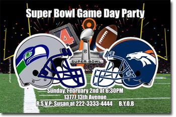 Football Super Bowl Invitations (download jpg immediately)
