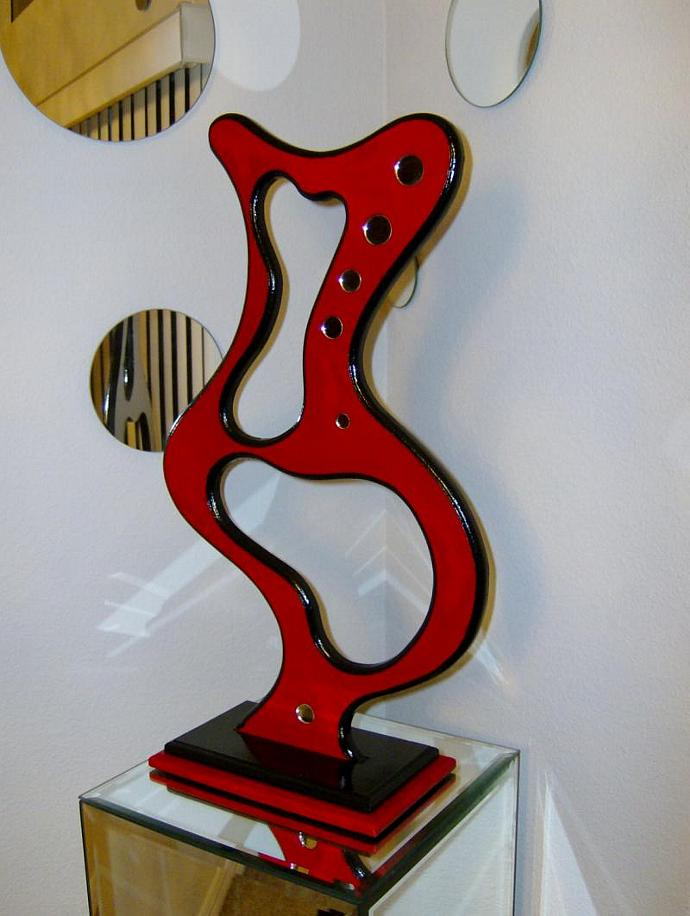 Beautiful Modern Red & Black Table Top Sculpture, Wood , Abstract, Mirror