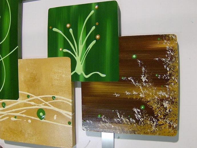 2pc Hunter Green and Brown Abstract Art Square Wood and Metal Wall Sculpture