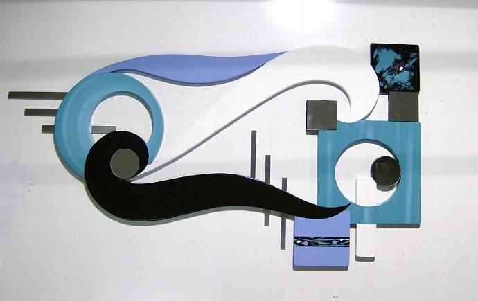 Unique and Stylish Contemporary Modern Abstract Wood Metal Mirror Wall Sculpture