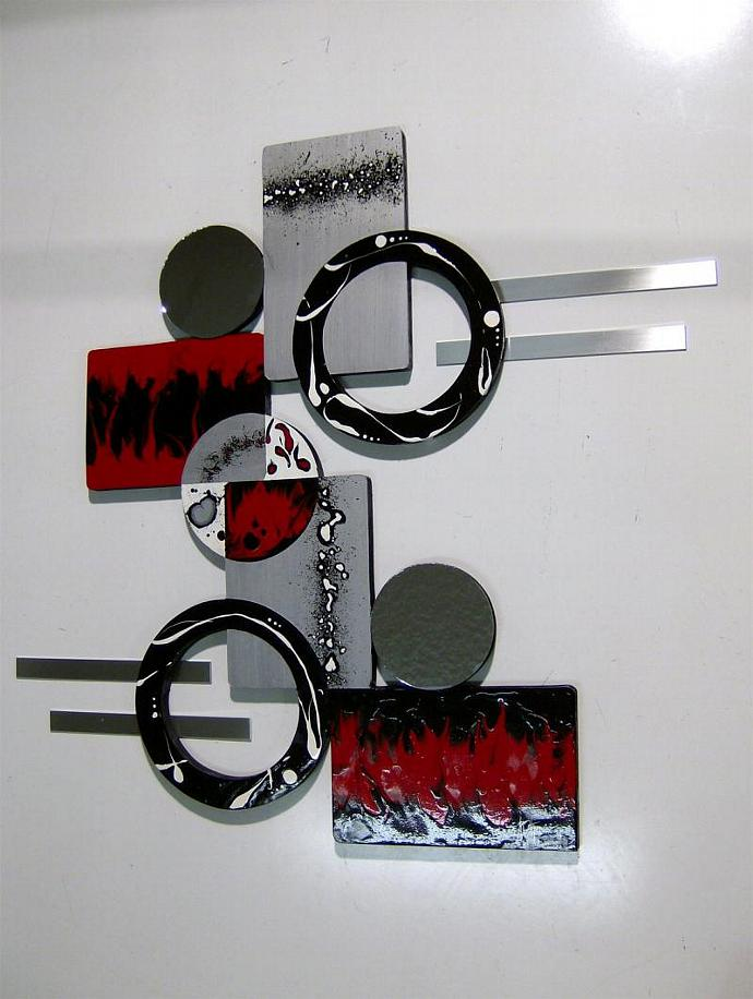 HUGE Ruby Red Black Silver Modern Abstract Art Wall Sculpture wood with Mirror &