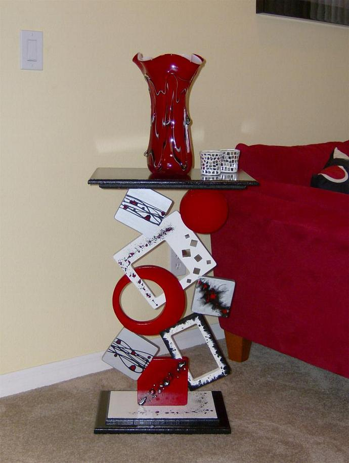 """Bold Contemporary Modern Funky Geometric Table Stand Floor Sculpture 30"""" height"""