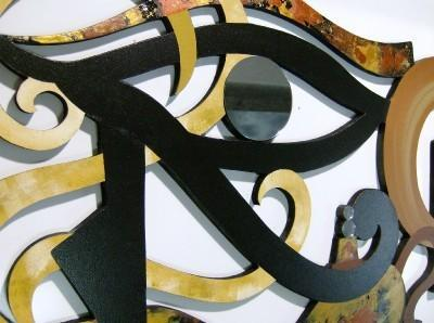 "Unique Contemporary Abstract Art ""Eye of Horus"" Wall Sculpture Wood, Mirror,"