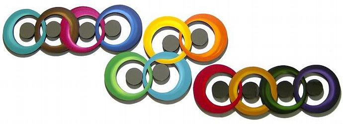 Bold & Colorful Contemporary Modern Abstract Art - set of 3 Circle Wall