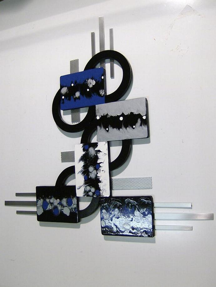 "Custom Blue and Black Abstract Art Wood and metal Wall Sculpture Hanging, ""True"