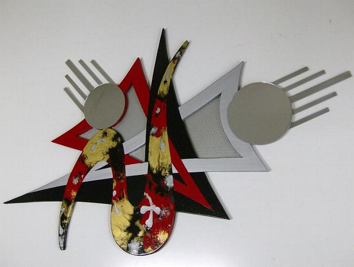 Red Asianna Mixed Media Wood Metal and Mirror Wall Sculpture,wall art,wall