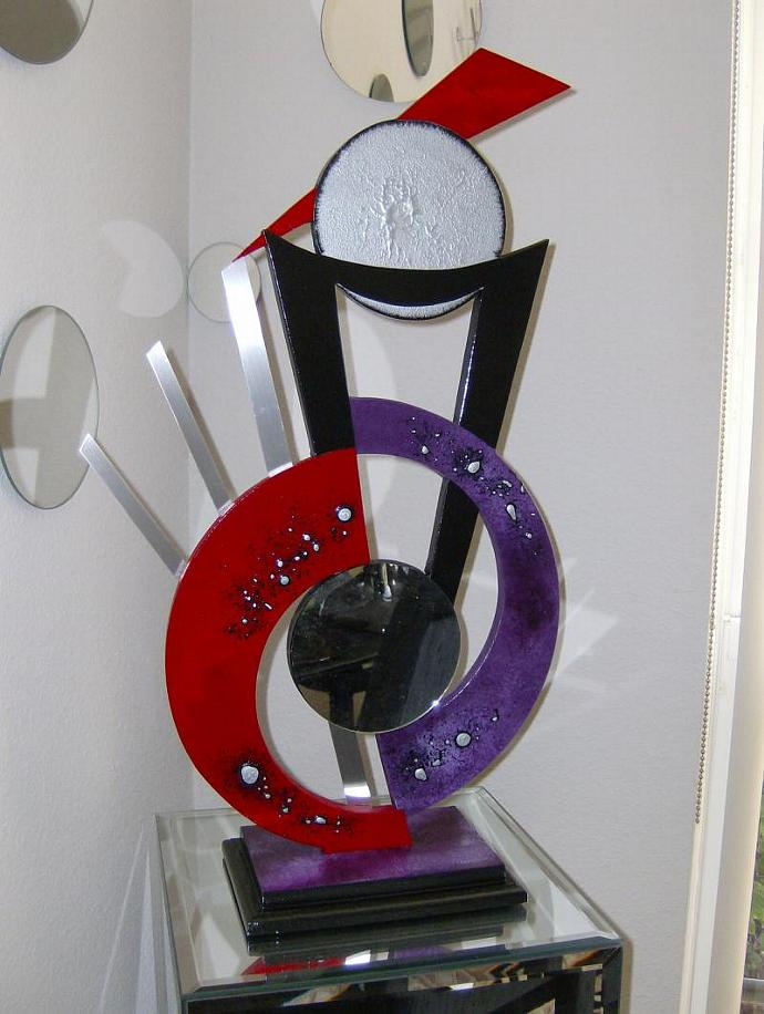 Purple and Red Abstract Art Wood Metal & Mirror Modern Table Top Sculpture