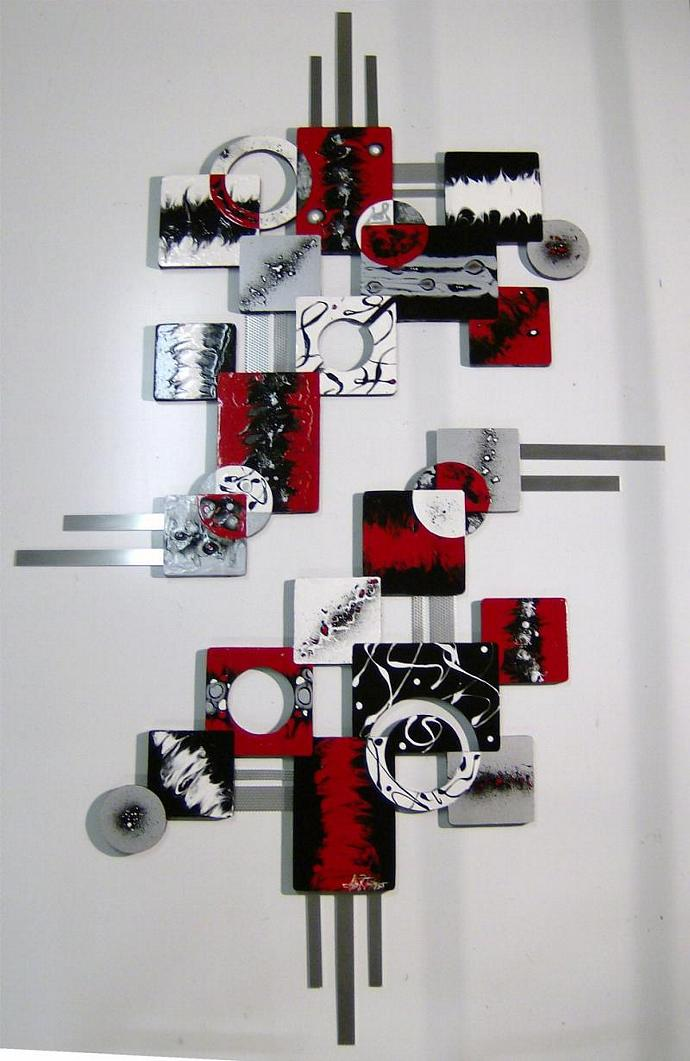 BOLD 2pc Red Black Contemporary Modern Geometric Abstract Wood Metal Wall