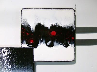 Black White & Red Contemporary MODERN ABSTRACT Squares, Wall SCULPTURE 44x34 by
