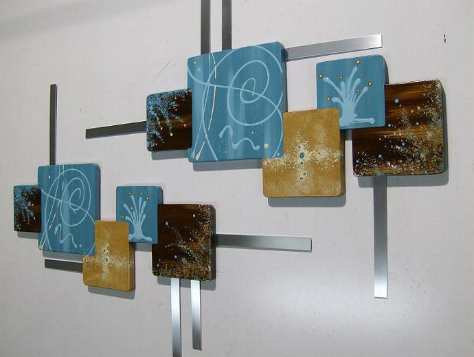 Set of 2  Painted wooden Turquoise & Brown Abstract Art, Floral Squares, Wall
