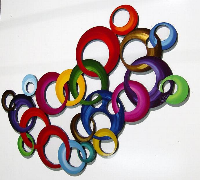Large Vibrant Color Blast Wheel of Circles Wooden Wall Sculpture 40x24 by Diva
