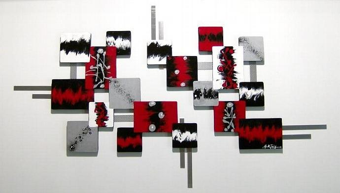 On Sale! Crimson Red,Black,Modern,Abstract Art,Squares,wall sculpture - wood and