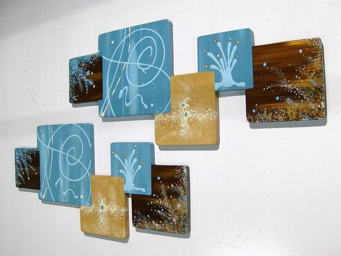 New 2pc Wooden Painted Turquoise & Brown Abstract Squares Wall Sculpture