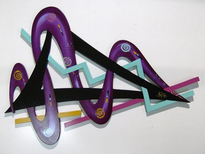 New Unique Funky Cool Purple Wood Wall Sculpture 34x24,diva art69, wall decor,