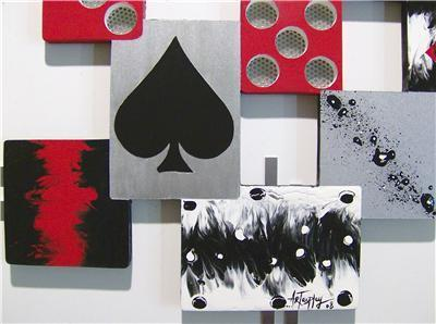 The Game, Cards & Dice themed Abstract Wood and Metal Wall Sculpture, wall