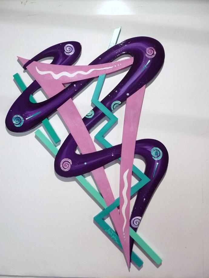 New Unique Funky Abstract Purple Pink Turquoise Wood Wall Sculpture Hanging