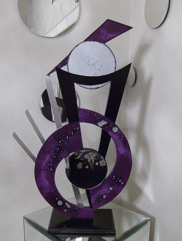 Purple passion Abstract Eggplant Wood Metal & Mirror Modern table Sculpture by
