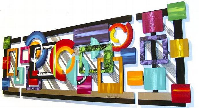 Stunning Large 3 pc Contemporary Modern Abstract Art Geometric Wood and Metal