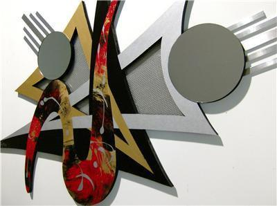 Asianna Abstract Wood & Metal Wall sculpture with Mirror accents, contemporary
