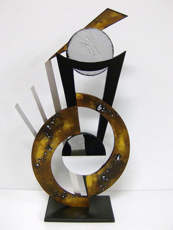 "Handmade Abstract Wood Table Sculpture-Wood-Metal & Mirror-""Chloe"" by Diva Art69"