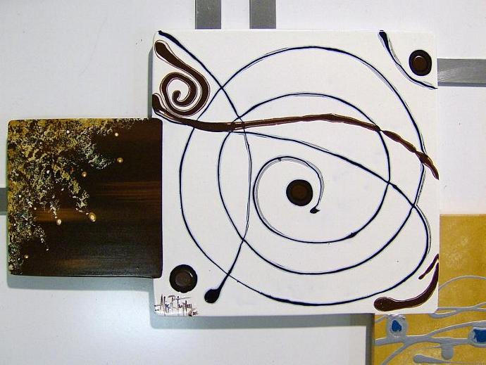 Gorgeous LARGE Contemporary Modern Abstract art and Swirl design Square shapes