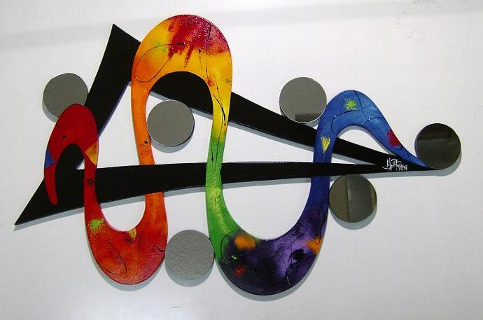 HUGE 58x35 Colorful Rainbow Unique Abstract Art wall sculpture, Wood & Mirror
