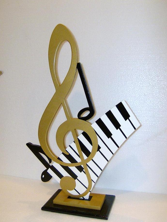 Lovely Gold G Clef & Piano Keys Music Table Sculpture Art by Diva Art69 Studios