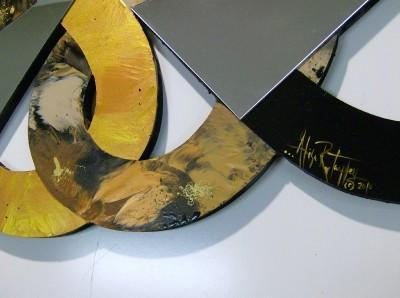 LARGE Stylish & Stunning Twisted Mirror Wood & Metal Abstract Wall Sculpture by